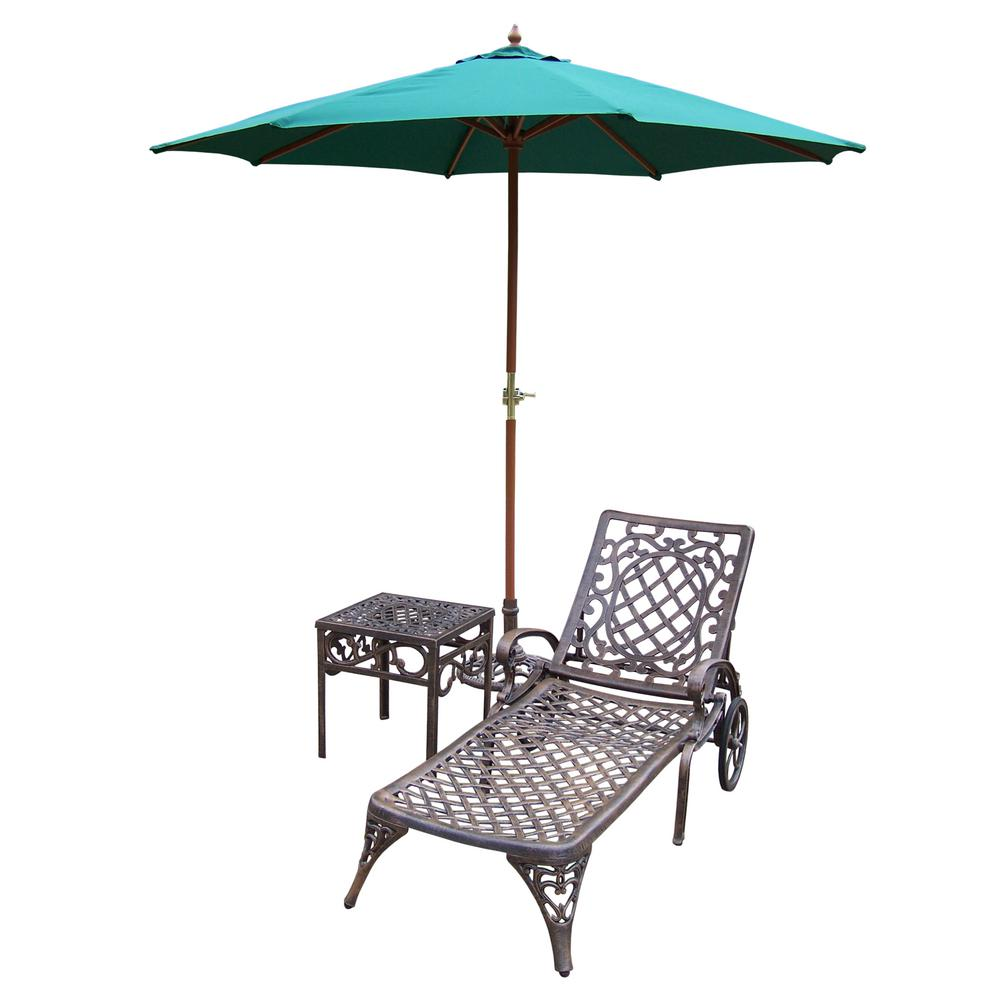 5 Piece Aluminum Outdoor Chaise Lounge Set With Brown