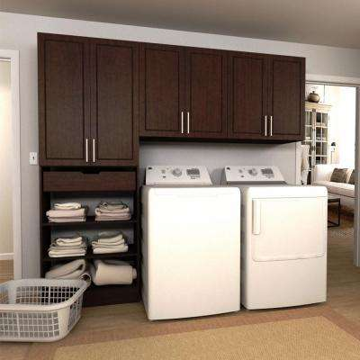 Madison 90 in. W Mocha Wide Tower Storage Laundry Cabinet Kit