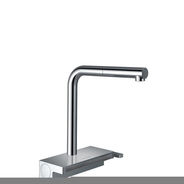 Aquno Select Single-Handle Pull-Down Sprayer Kitchen Faucet with QuickClean in Chrome
