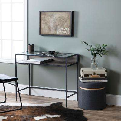 35 in. Grey Wash Metal and Wood Compact Desk with Glass