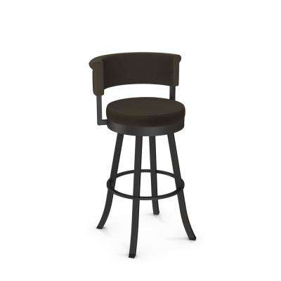 Americo 30 in. Textured Brown Metal Dark Brown Grey Polyester Barstool