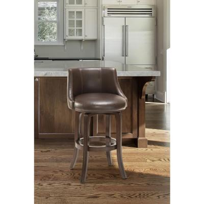 Napa Valley 25.25 in. Dark Brown Cherry/Brown Leather Swivel Counter Stool