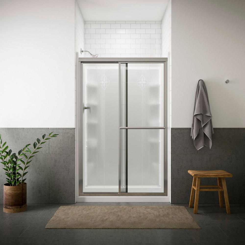 STERLING Deluxe 48-7/8 in. x 70 in. Framed Sliding Shower Door in Matte Silver with Templar Glass Pattern