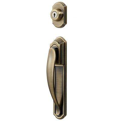 Antique Brass Coated Deluxe Storm and Screen Pull Handle and Keyed Deadbolt