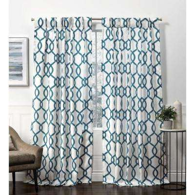Kochi Teal Room Darkening Triple Pinch Pleat Top Curtain Panel - 27 in. W x 84 in. L   (2-Panel)