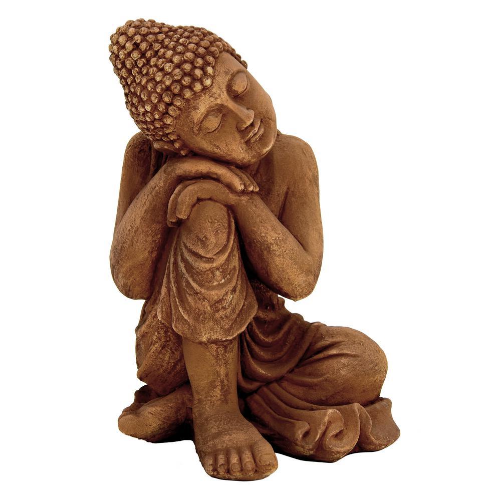 13 in. x 12 in. Buddha Figurine in Brown