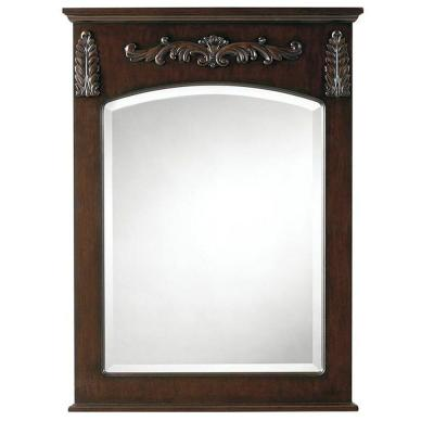 26 in. W x 35 in. H Framed Rectangular  Bathroom Vanity Mirror in Antique Cherry