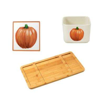 Bamboo Cheese Board, Fall Glass Cutting Board and Square Porcelain Fall Appetizer Bowl