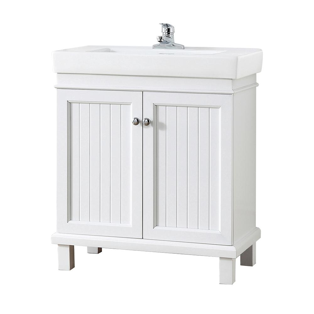 Home Decorators Collection Parkbridge 30 In W X 15 10 D Vanity White With Ceramic Top Sink