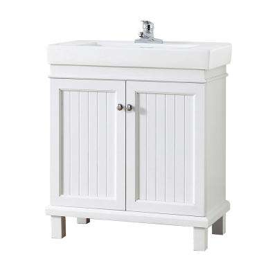 Parkbridge 30 in. W x 15.10 in. D Vanity in White with Ceramic Vanity Top in White with White Sink
