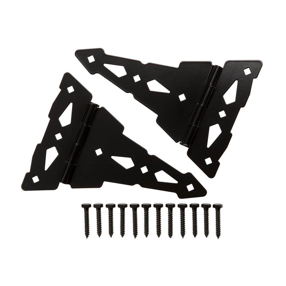 10 in. Black Heavy Duty Decorative Tee Hinge (2-Pack)
