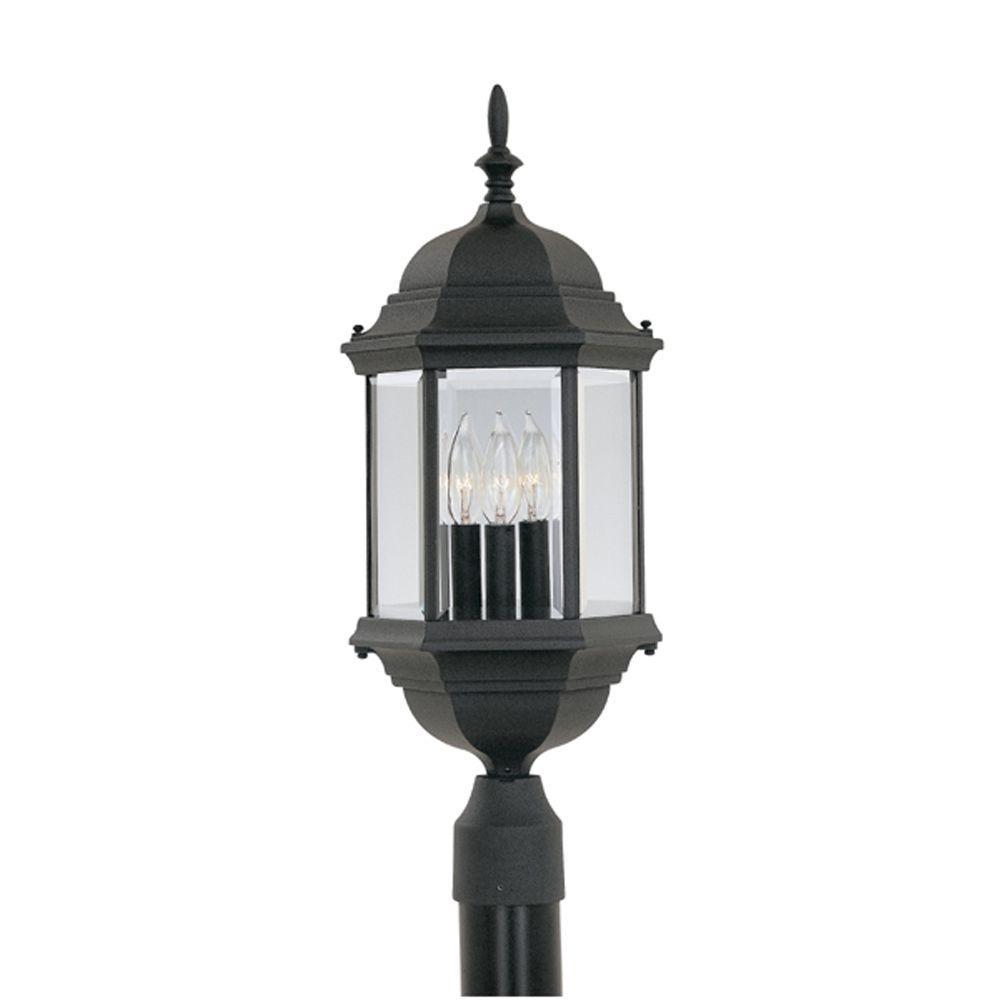 Erving Collection 3-Light Outdoor Black Post Lantern