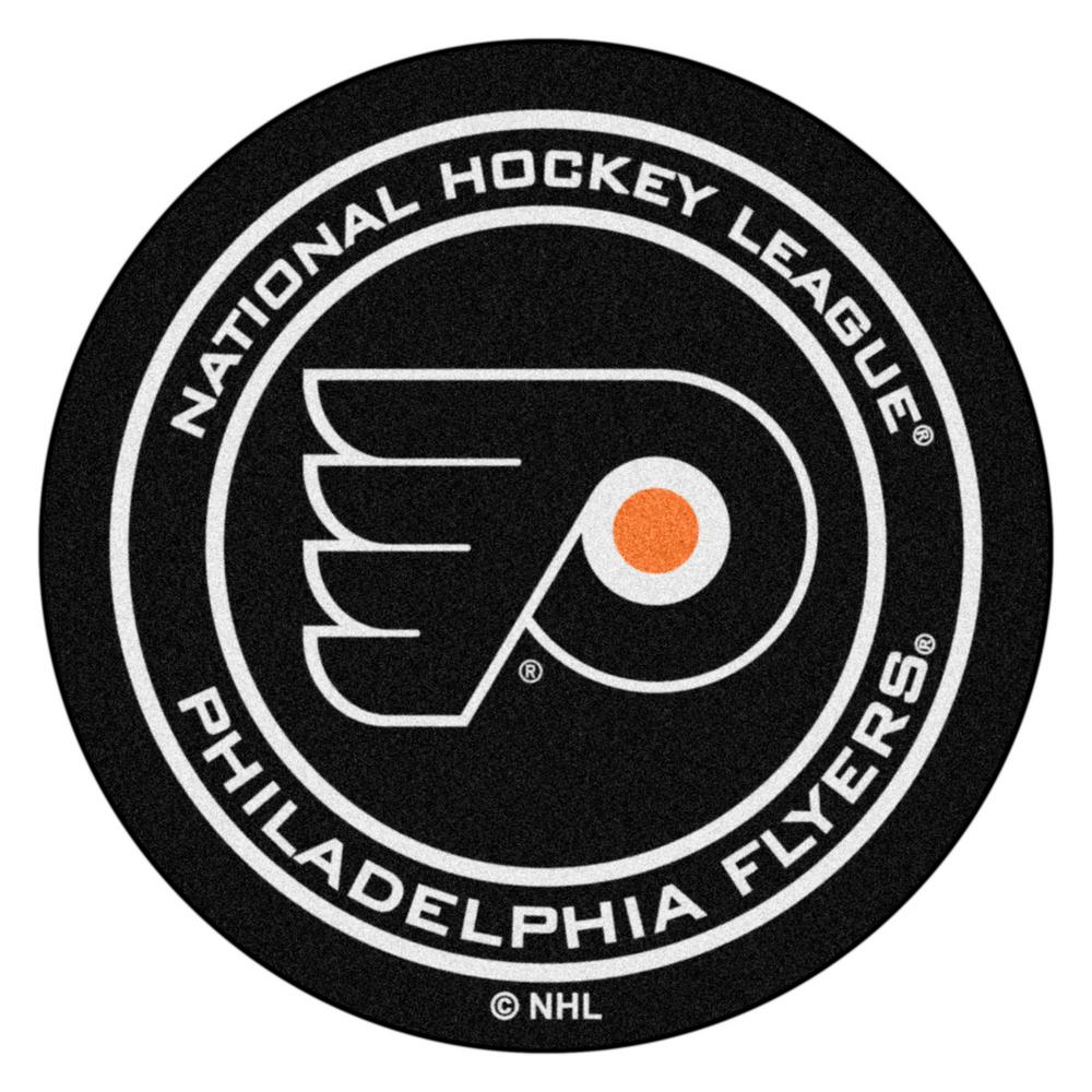 Fanmats Philadelphia Flyers Black 27 In Round Hockey Puck Mat 10484 The Home Depot