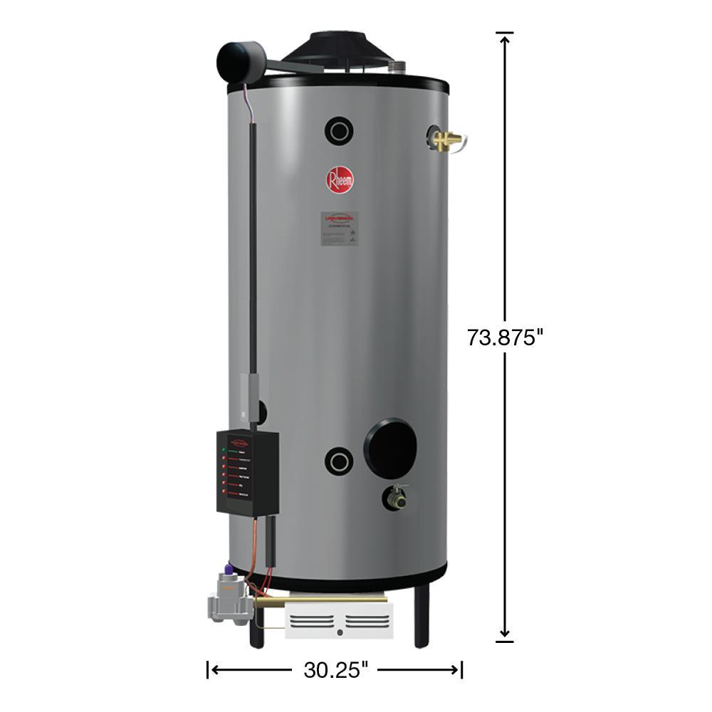 Rheem Universal Heavy Duty 100 Gal Commercial 199 9k Btu Natural Gas Mass Code Tank Water Heater G100 200 Ma The Home Depot