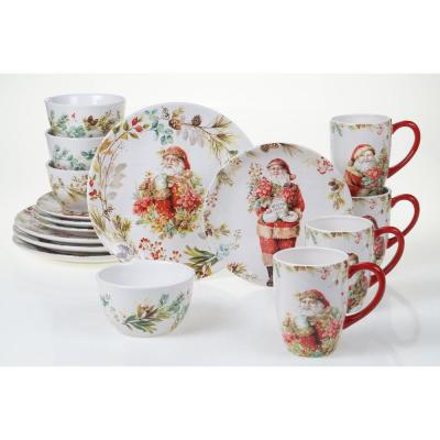 Christmas Story 16-Piece Multicolored Earthenware Dinnerware Set (Service for 4)