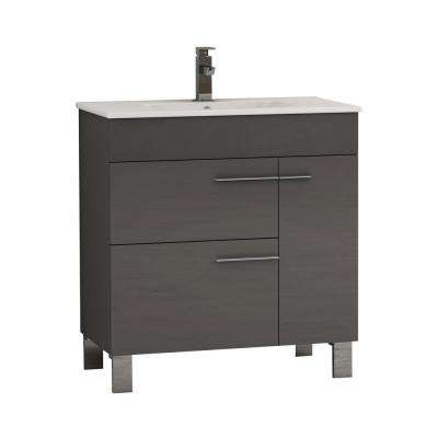 Cup 31.50 in. W x 18 in. D x 34 in. H Vanity in Gray with Ceramic Top in White with White Basin