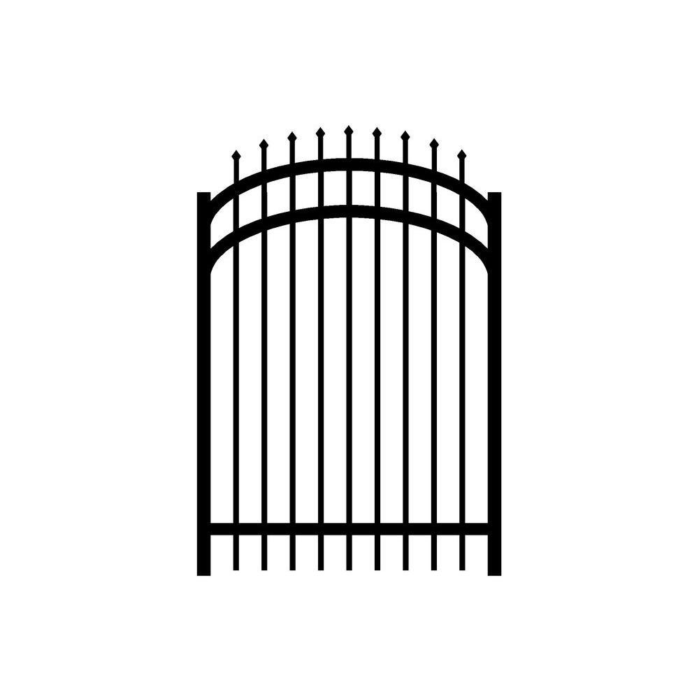 Washington 4 ft. W x 4.5 ft. H Black Aluminum 3-Rail Arched Fence Gate