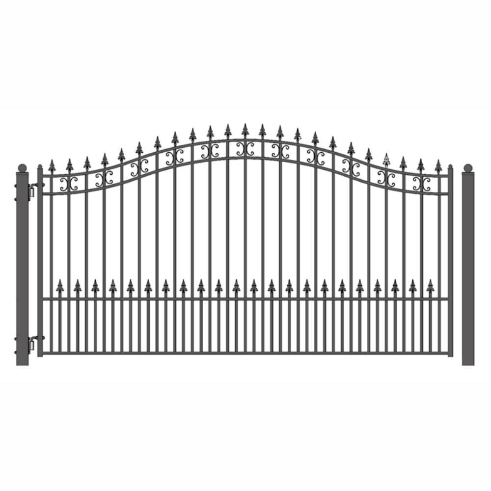 St. Petersburg Style 14 ft. x 6 ft. Black Steel Single Swing Driveway Fence Gate