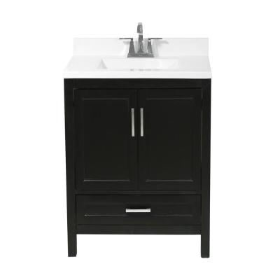 Salerno 25 in. Bath Vanity in Espresso with Cultured Marble Vanity Top with Backsplash in White with White Basin