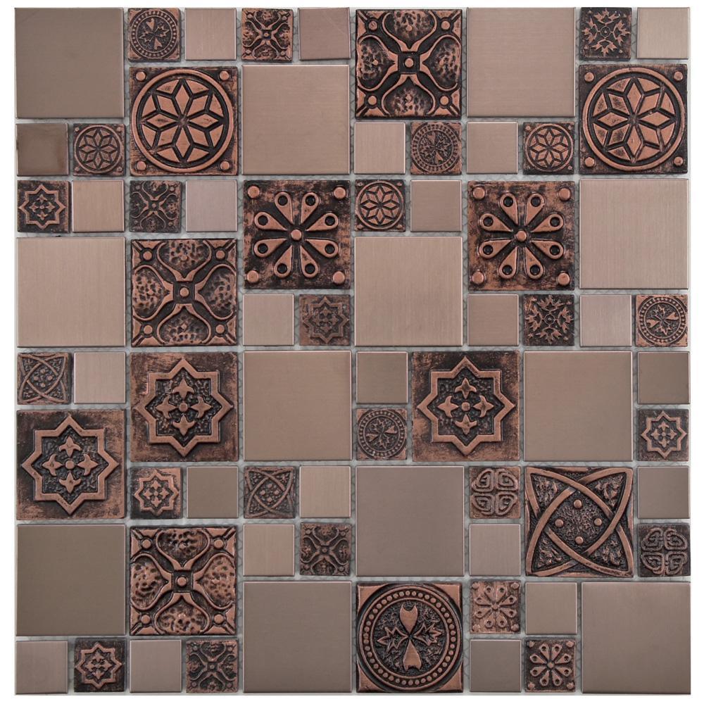 Meta Versailles Copper 11-3/4 in. x 11-3/4 in. x 8 mm Stainless Steel Metal Over Ceramic Mosaic Tile