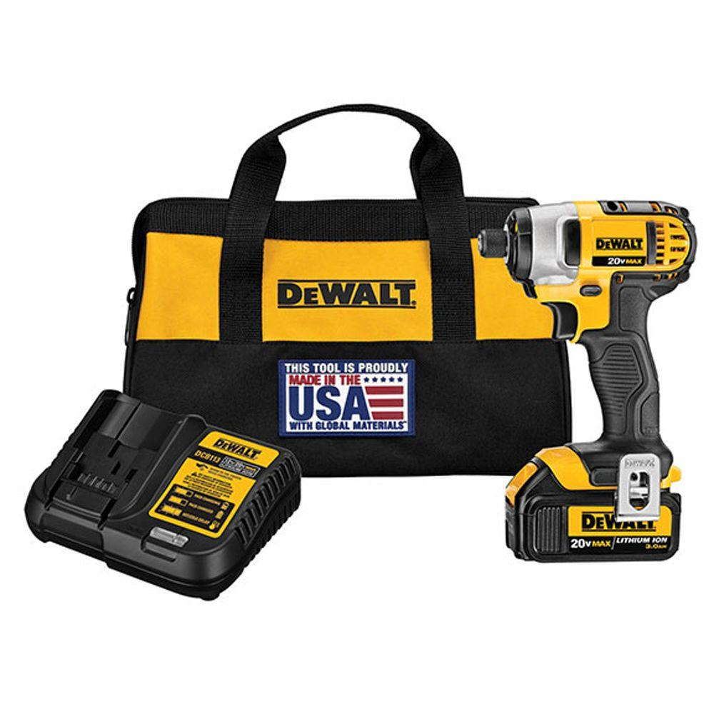 DEWALT 20-Volt MAX Lithium-Ion Cordless 1/4 in. Impact Driver with Battery 3AH, Charger and Tool Bag