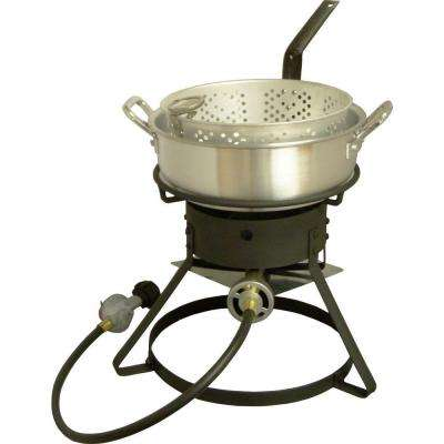 54,000 BTU Bolt Together Propane Gas Outdoor Cooker with Low Profile 7 qt. Aluminum Fry Pan