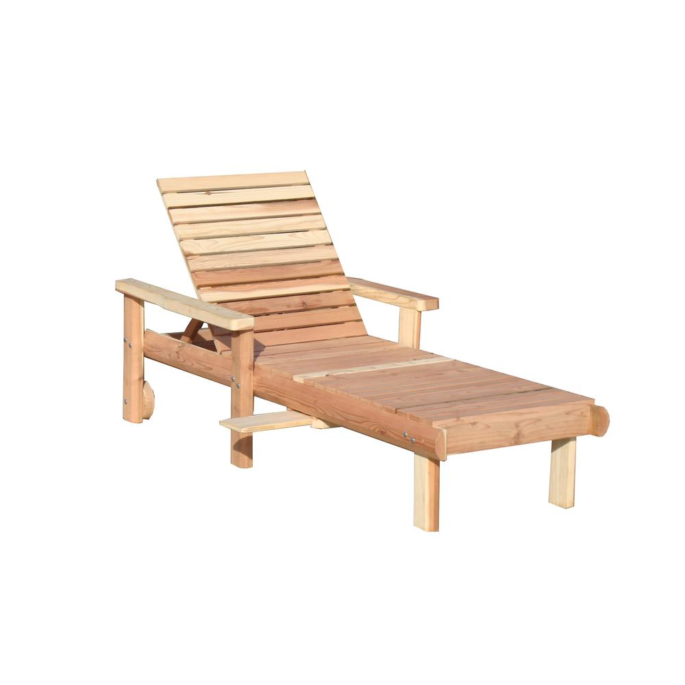 Beach Single Clear No Stain Redwood Outdoor Chaise Lounge