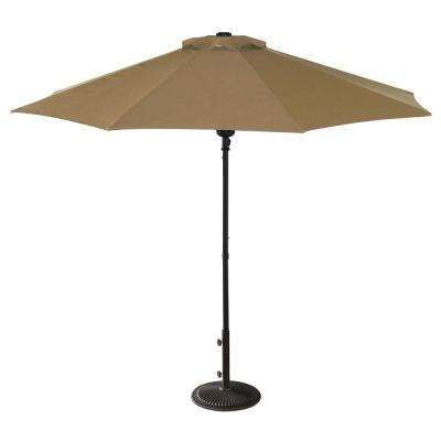 Cabo Auto-Open 9 ft. Octagonal Market Patio Umbrella in Stone Olefin