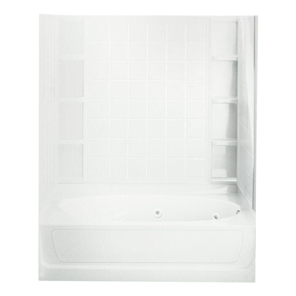 STERLING Ensemble 36 in. x 60 in. x 72 in. Bath and Shower Kit with Right-Hand Drain inWhite