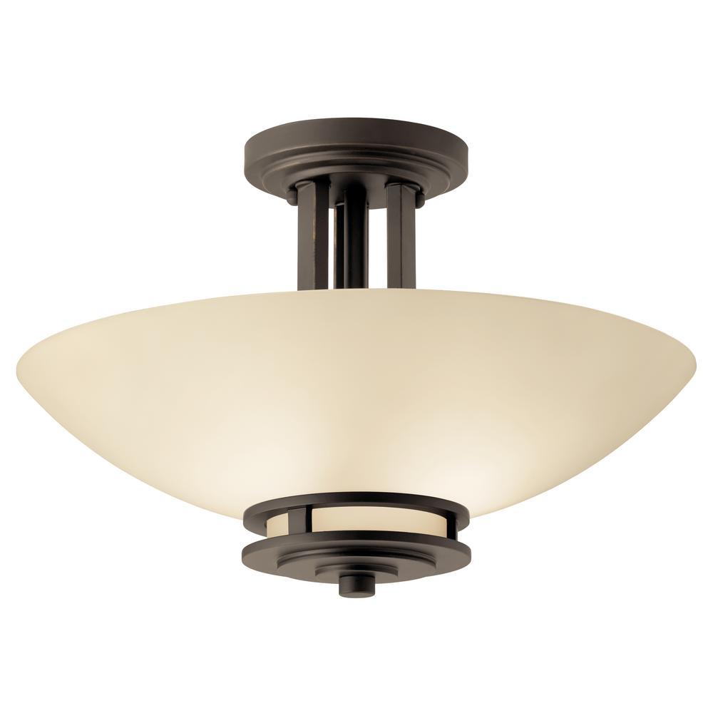 Hendrik 2-Light Olde Bronze Semi-Flush Mount Ceiling Light with Light Umber Etched Glass