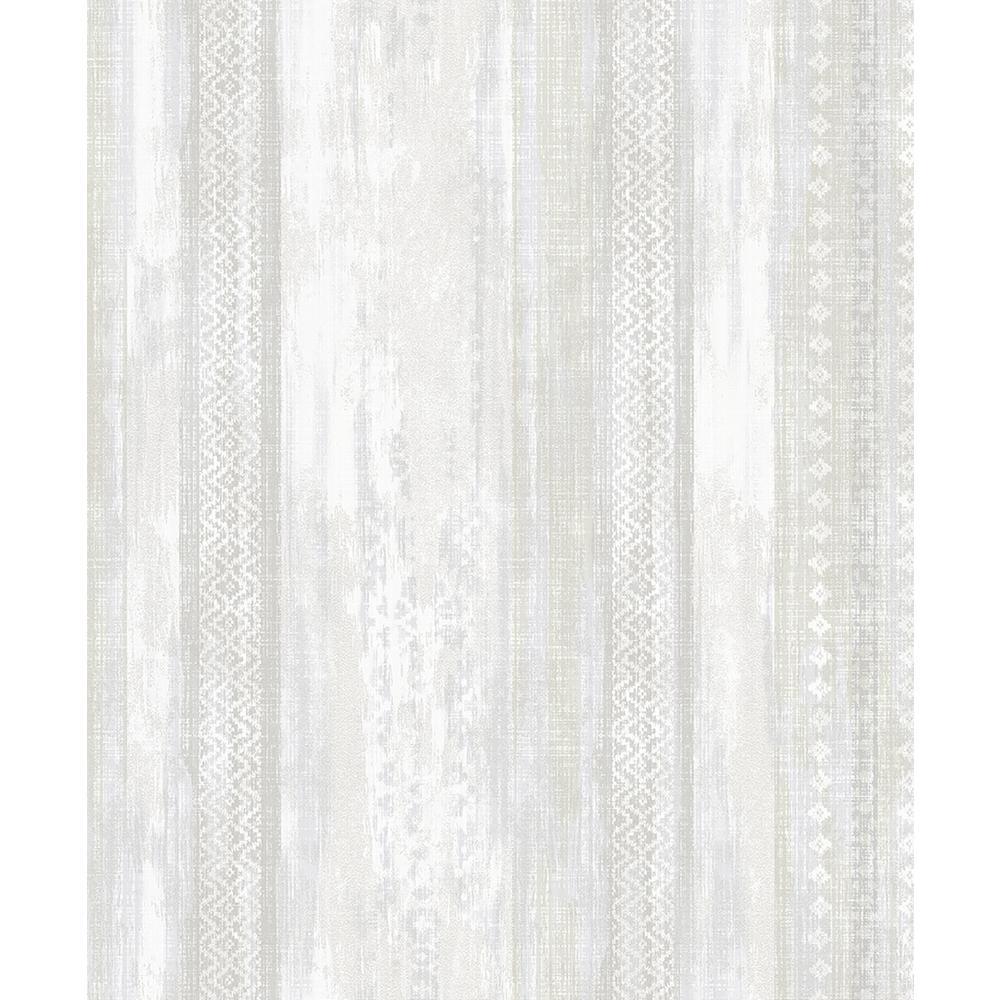 Advantage 8 in. x 10 in. Blair Dove Ikat Stripe Wallpaper