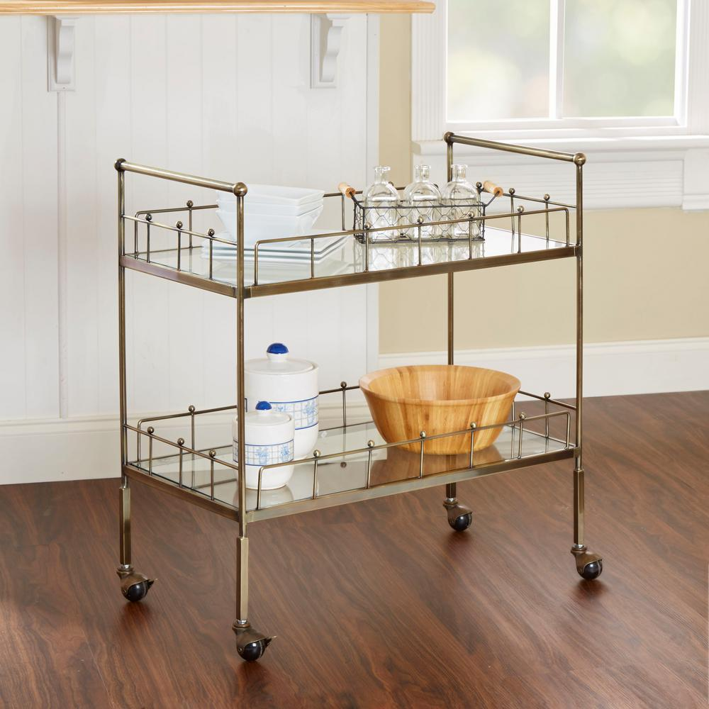 Fitz 2-Tier Antique Silver Serving Cart
