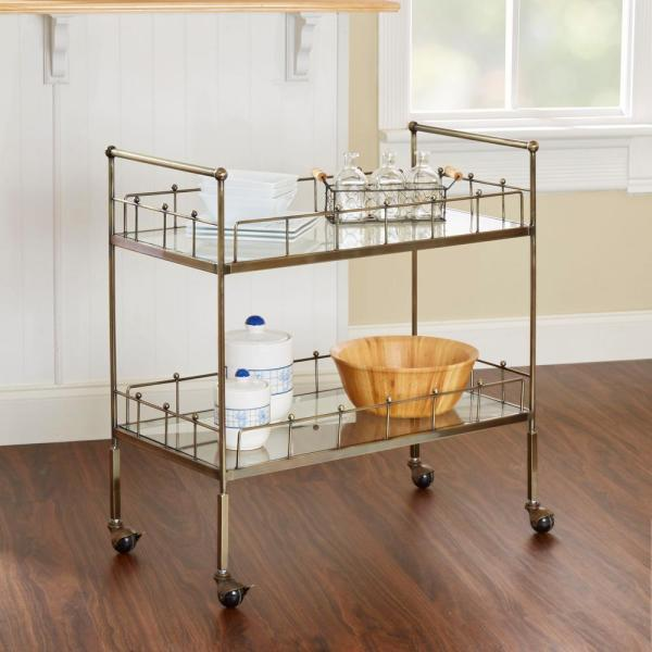 Silverwood Furniture Reimagined ™ Fitz 2-Tier Antique Silver Serving Cart