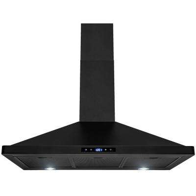 36 in. Convertible Kitchen Wall Mount Range Hood with Lights in Black Stainless Steel