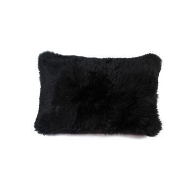 New Zealand Sheepskin Black Solid 12 in. x 20 in. Throw Pillow