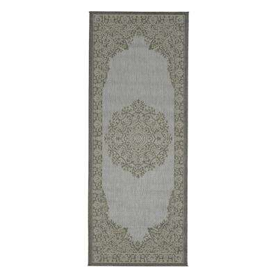 Jardin Collection Light Gray Oriental Design Indoor/Outdoor 3 ft. x 7 ft. Jute Back Runner Rug