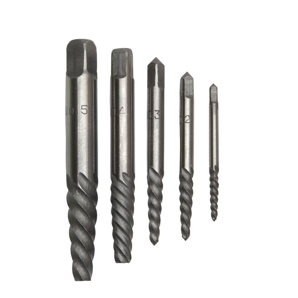 Carbon Steel Screw Drill Bit Extractor Set with 5-Extractors, Sizes #1