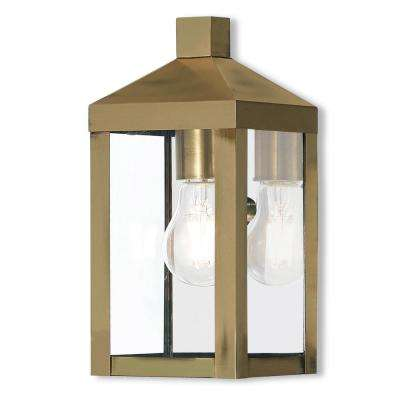 Nyack 1-Light Antique Brass Outdoor Wall Mount Lantern