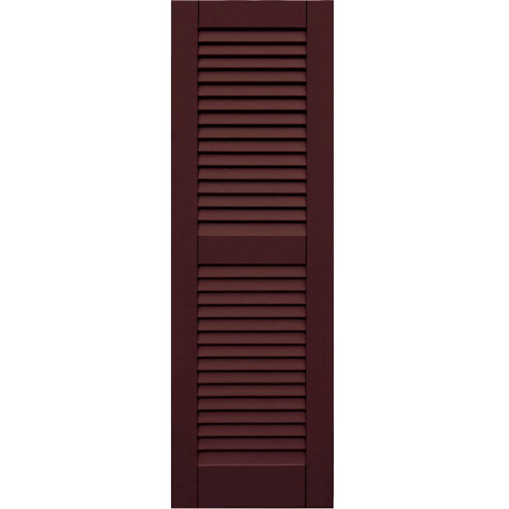 Winworks Wood Composite 15 in. x 47 in. Louvered Shutters Pair #657 Polished Mahogany