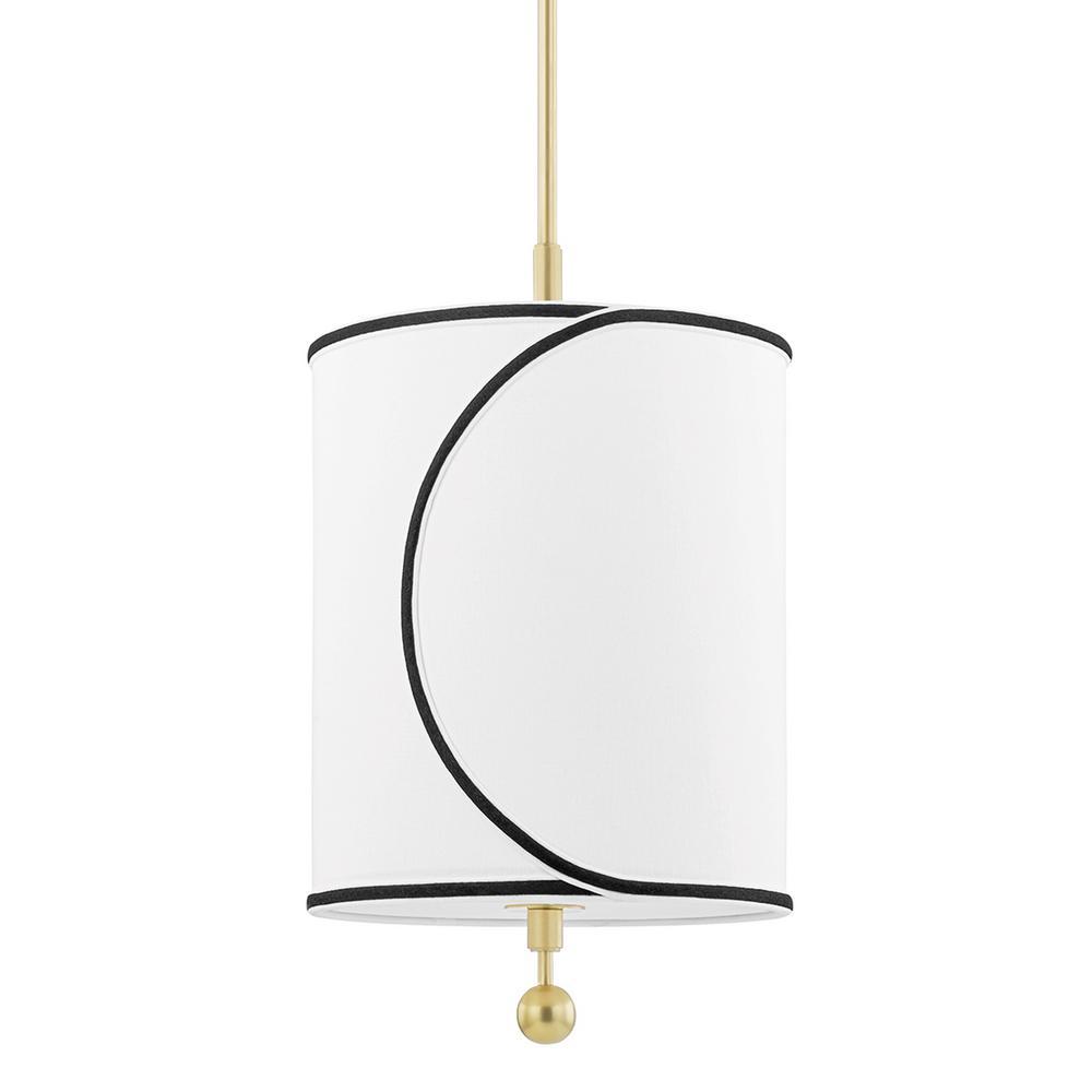 Zara 1-Light Aged Brass Geometric Pendant with Fabric Shade
