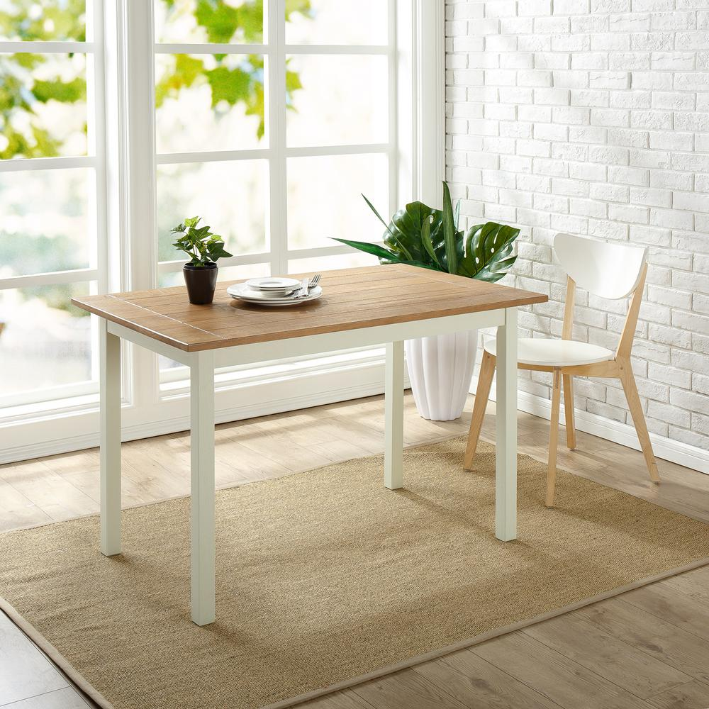Zinus Farmhouse White Wood Dining Table HD DT F29 The Home Depot