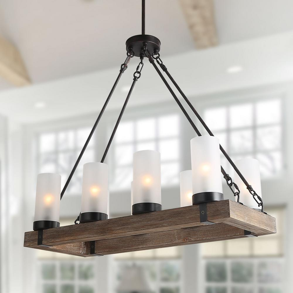 LNC 8-Light Rustic Bronze Chandelier with Frosted Cylinder Shade