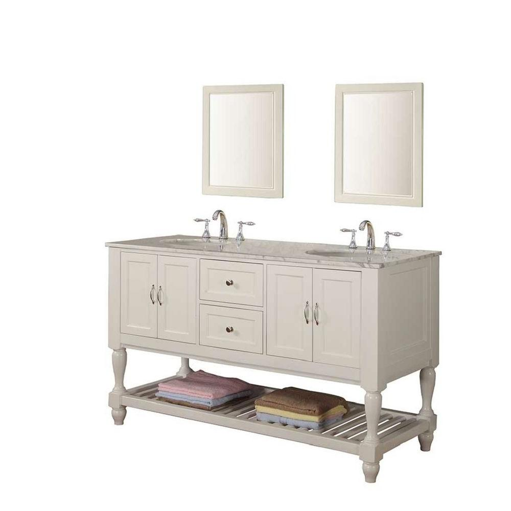 Double Vanity In Pearl White With Marble Top Carrara And Mirrors