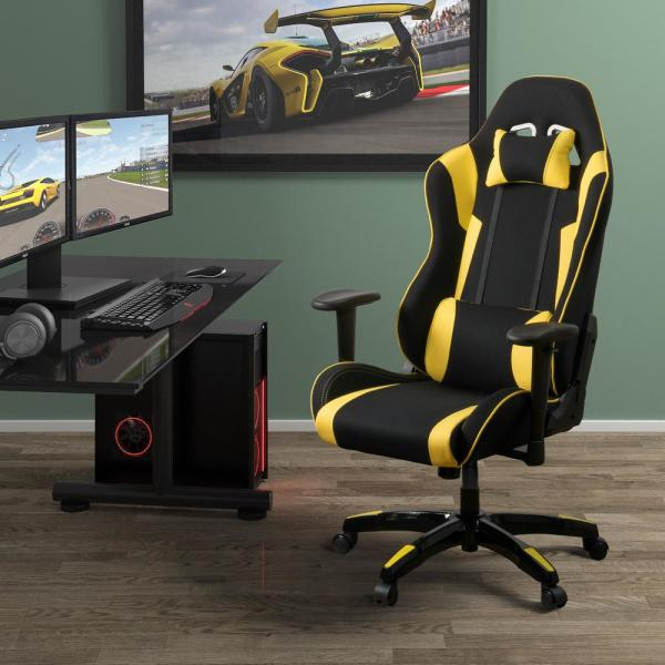 CorLiving Black and Yellow High Back Ergonomic Office Gaming Chair with