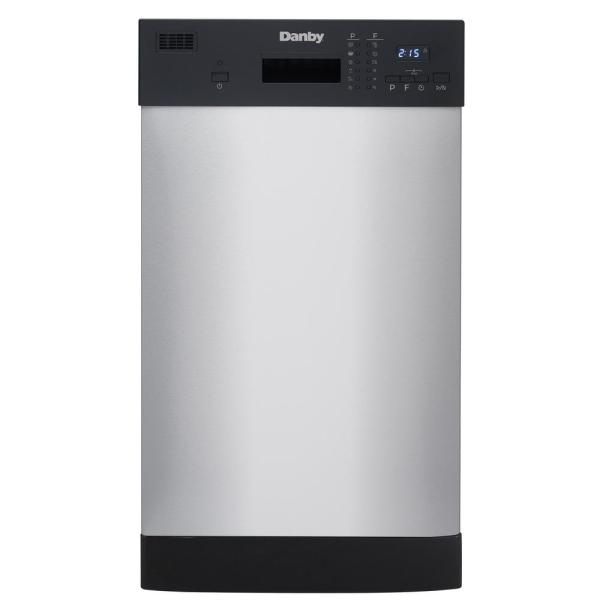 18 in. Front Control Dishwasher in Stainless Steel with Stainless Steel Tub 52 dBA