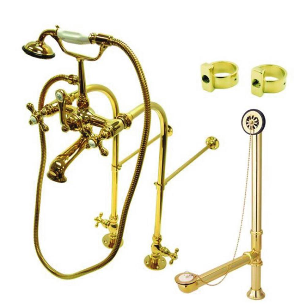 Kingston Brass Freestanding Combo Set 3 Handle Claw Foot Tub Faucet