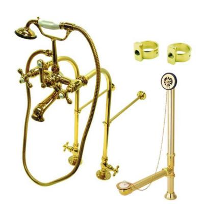 Freestanding Combo Set 3-Handle Claw Foot Tub Faucet with Drain and Supply Lines in Polished Brass