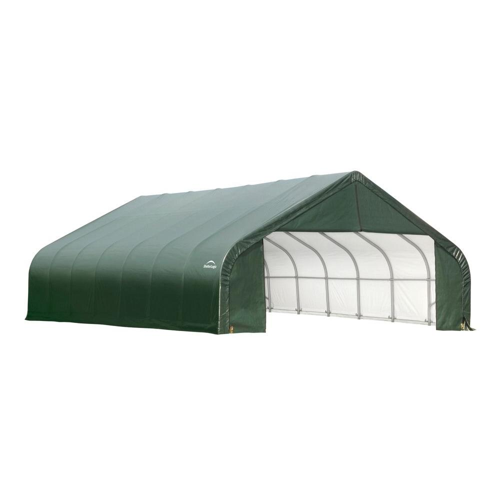 ShelterLogic 26 ft. x 28 ft. x 16 ft. Green Cover Peak Style Shelter - DISCONTINUED