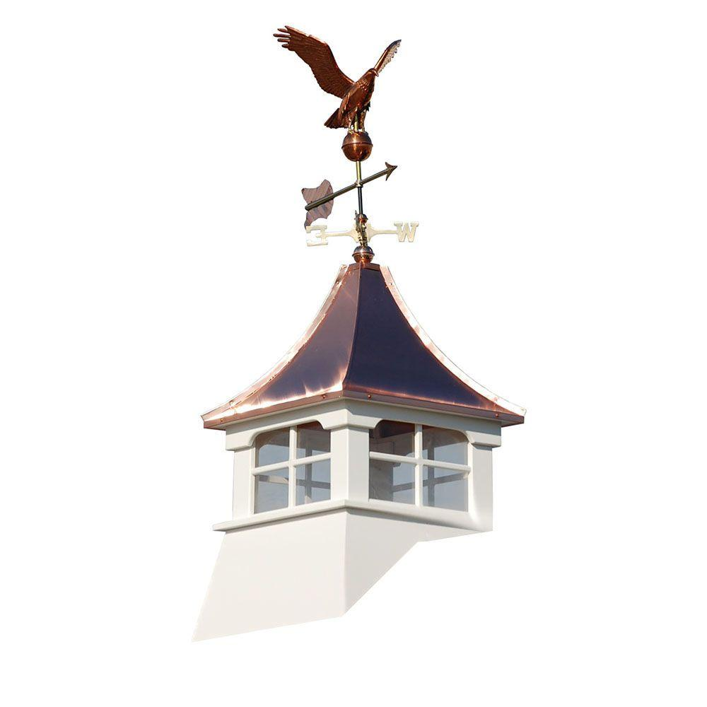 HomePlace Structures Williamsburg 24 in. x 24 in. x 63 in. Composite Vinyl Cupola with Weathervane