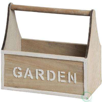13 in. x 5.5 in. x 12.5 in. Distressed Wood Garden Carry Planter